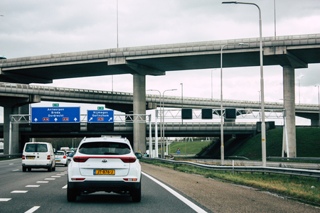 Rotterdam Netherlands March 18, 2019 View of the traffic jam in the highway to Rotterdam in the afternoon