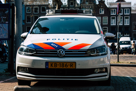 Amsterdam Netherlands April 8, 2019 View of a Dutch police car parked in the streets of Amsterdam in the afternoon Editorial