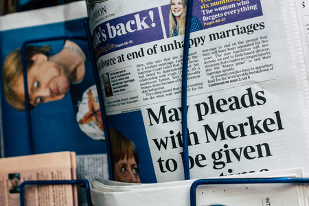 Amsterdam Netherlands April 10, 2019 Closeup of traditional newspapers sold in the streets of Amsterdam in the morning