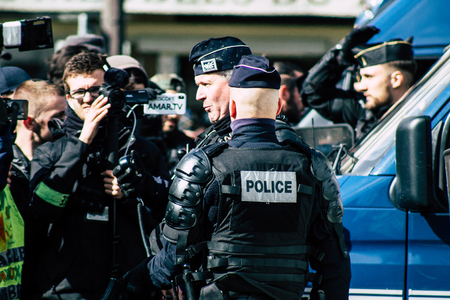 Paris France May 04, 2019 View of a riot squad of the French National Police in intervention during protests of the Yellow Jackets against the policy of President Macron in Paris on saturday afternoon Standard-Bild - 121982989
