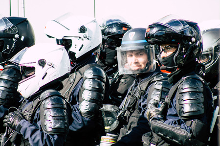 Paris France May 04, 2019 View of a riot squad of the French National Police in intervention during protests of the Yellow Jackets against the policy of President Macron in Paris on saturday afternoon Standard-Bild - 121982996