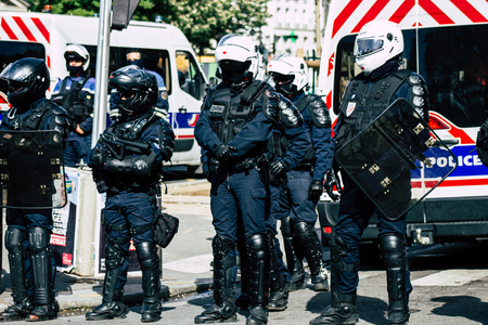 Paris France May 04, 2019 View of a riot squad of the French National Police in intervention during protests of the Yellow Jackets against the policy of President Macron in Paris on saturday afternoon Standard-Bild - 121982849