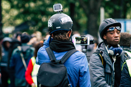 Paris France May 04, 2019 View of press journalist covering protests of the Yellow Jackets against the policy of President Macron in Paris on saturday afternoon Standard-Bild - 121982828