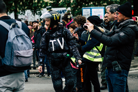 Paris France May 04, 2019 View of press journalist covering protests of the Yellow Jackets against the policy of President Macron in Paris on saturday afternoon Éditoriale