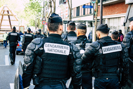 Paris France May 04, 2019 View of a riot squad of the French National Gendarmerie in intervention during protests of the Yellow Jackets against the policy of President Macron in Paris on saturday afternoon Éditoriale