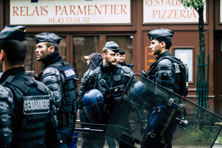 Paris France May 04, 2019 View of a riot squad of the French National Gendarmerie in intervention during protests of the Yellow Jackets against the policy of President Macron in Paris on saturday afternoon Editorial