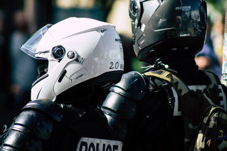 Paris France May 04, 2019 View of a riot squad of the French National Police in intervention during protests of the Yellow Jackets against the policy of President Macron in Paris on saturday afternoon Редакционное