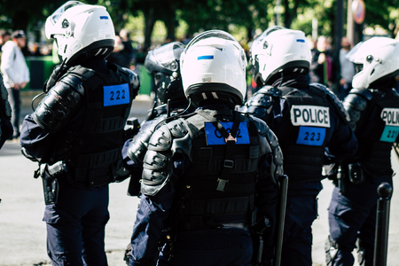 Paris France May 04, 2019 View of a riot squad of the French National Police in intervention during protests of the Yellow Jackets against the policy of President Macron in Paris on saturday afternoon Éditoriale