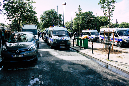 Paris France May 04, 2019 View of cars of the French National Police in intervention during protests of the Yellow Jackets against the policy of President Macron in Paris on saturday afternoon