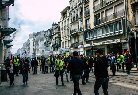 Reims France May 18, 2019 View of unknown Yellow Jackets protesters marching against the policy of President Macron on Saturday afternoon Éditoriale