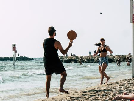 Tel Aviv Israel May 31, 2019 View of unknown Israeli people having fun on the beach of Tel Aviv in the afternoon