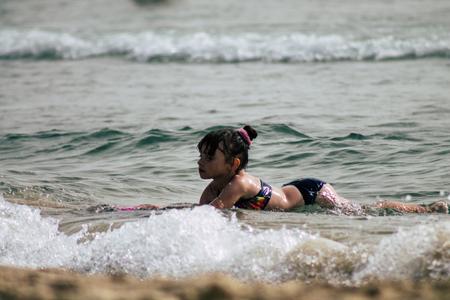 Tel Aviv Israel June 8, 2019 View of unknown Israeli children having fun on the beach of Tel Aviv in the afternoon Editorial