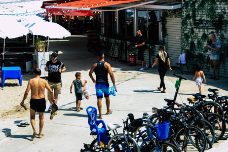 Tel Aviv Israel June 9, 2019 View of unknown Israeli people having fun on the beach of Tel Aviv in the afternoon