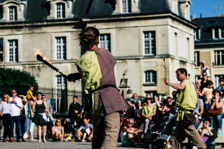 Reims France June 1, 2019 View of unknown street performers performing at the Johanniques festival, annual French celebration in Reims to commemorate the coronation of Charles VII