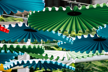 Tel Aviv Israel July 16, 2019 View of Colorful parasols at the carmel market in Tel Aviv