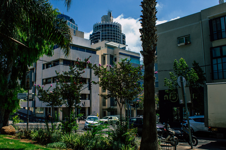 Tel Aviv Israel August 5, 2019 View of traditional street of Tel Aviv center in the afternoon