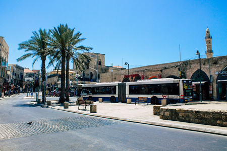 Tel Aviv Israel August 12, 2019 View of traditional city bus rolling in the streets of Tel Aviv in the afternoon