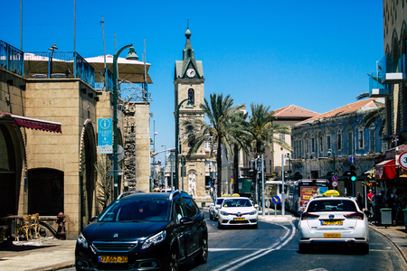 Tel Aviv Israel August 13, 2019 View of traditional Israeli taxi rolling in the streets of Tel Aviv in the afternoon