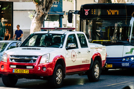 Tel Aviv Israel August 12, 2019 View of traditional Israeli fire engine rolling in the streets of Tel Aviv in the afternoon