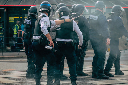 Reims France May 18, 2019 View of the French National Police squad intervening in the streets of Reims during the riots in the afternoon
