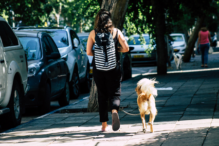 Tel Aviv Israel August 17, 2019 View of unknown Israeli people and dog walking in the streets of Tel Aviv in the afternoon