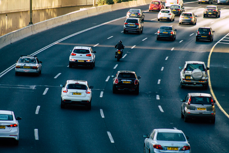 Tel Aviv Israel August 17, 2019 View of the traffic circulation in the highway of Tel Aviv in the afternoon