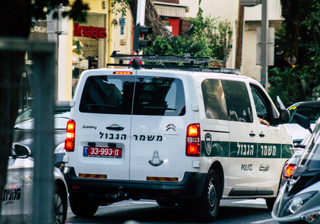 Tel Aviv Israel August 19, 2019 View of a Israeli police car rolling in the streets of Tel Aviv in the afternoon