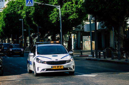 Tel Aviv Israel August 19, 2019 View of a local Israeli police car of the city of Tel Aviv rolling in the streets in the afternoon
