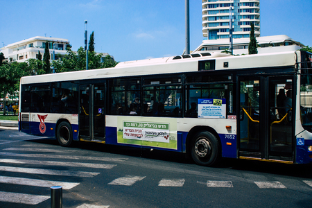 Tel Aviv Israel JuLY 16, 2019 View of traditional Israeli city bus rolling in the streets of Tel Aviv in the afternoon
