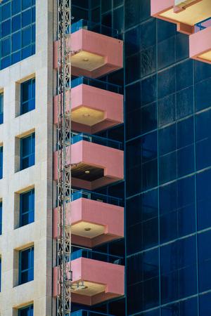 Tel Aviv Israel July 15, 2019 View of workers building a new skyscraper in Tel Aviv in the afternoon