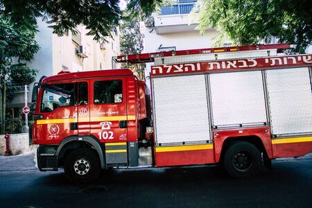 Tel Aviv Israel August 24, 2019 View of a fire engine parked in the streets of Tel Aviv in the afternoon