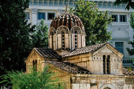 View of a classical greek orthodox church located in Athens