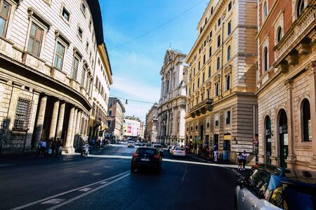 Rome Italy September 15, 2019 View of buildings in the streets of the city of Rome in the evening Zdjęcie Seryjne