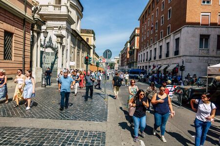 Rome Italy September 15, 2019 View of unknowns people walking in the streets of the city of Rome in the evening