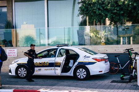 Tel Aviv Israel September 18, 2019 View of a Israeli police officer in the streets of Tel Aviv in the afternoon