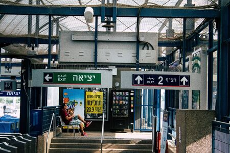Tel Aviv Israel September 20, 2019 View of the departure area of the local train station of Tel Aviv in the afternoon