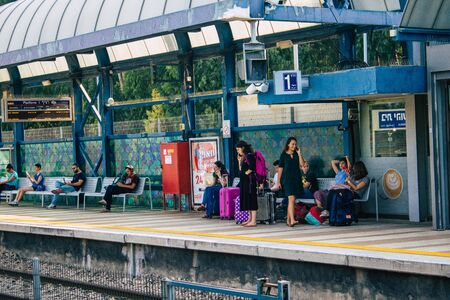 Tel Aviv Israel September 20, 2019 View of unknown Israeli people at the local train station of Tel Aviv in the afternoon Stock fotó