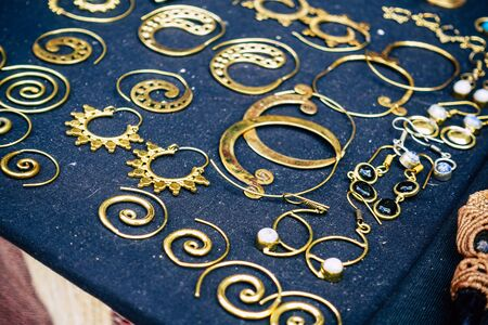 Rome Italy September 25, 2019 Closeup of jewelry sold in a shop in the streets of Rome