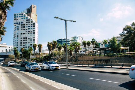 Tel Aviv Israel September 27, 2019 View of traditional Israeli taxi rolling in the streets of Tel Aviv in the afternoon