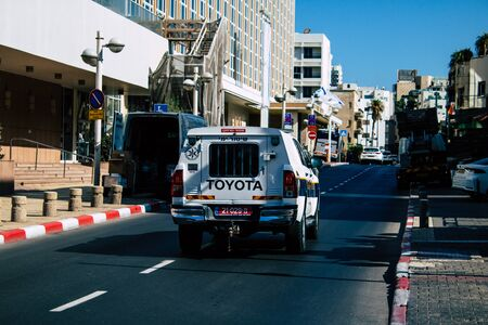 Tel Aviv Israel September 27, 2019 View of a Israeli police car rolling in the streets of Tel Aviv in the afternoon Stock Photo
