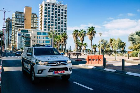 Tel Aviv Israel September 27, 2019 View of a Israeli police car rolling in the streets of Tel Aviv in the afternoon Stok Fotoğraf