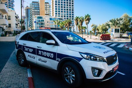 Tel Aviv Israel September 28, 2019 View of a Israeli police car parked front the beach in Tel Aviv in the afternoon