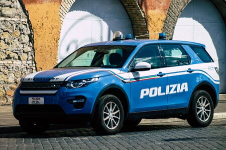Rome Italy September 29, 2019 View of a National police car parked in the streets of Rome in the morning