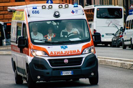 Rome Italy September 29, 2019 View of a Italian ambulance driving through the streets of Rome in the morning Archivio Fotografico