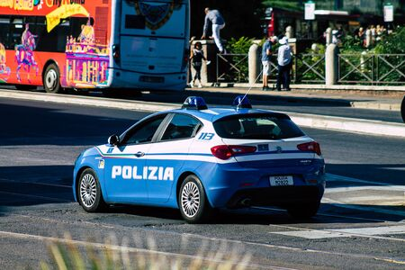 Rome Italy September 29, 2019 View of a National police car parked in the streets of Rome in the morning Imagens