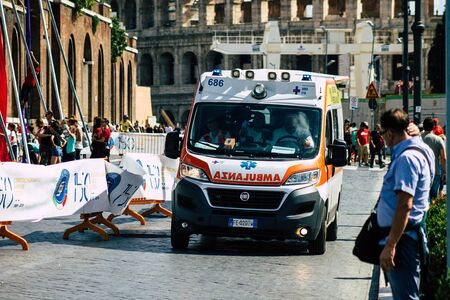 Rome Italy September 29, 2019 View of a Italian ambulance driving through the streets of Rome in the morning Imagens