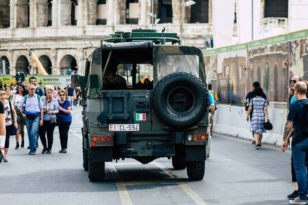 Rome Italy September 29, 2019 View of a Italian military car rolling through the streets of Rome in the morning Stok Fotoğraf - 131851706