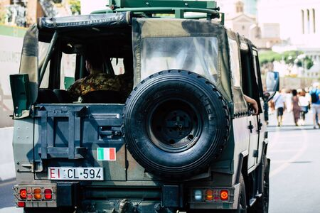 Rome Italy September 29, 2019 View of a Italian military car rolling through the streets of Rome in the morning Фото со стока