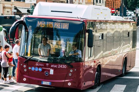 Rome Italy September 29, 2019 View of a public bus rolling through the streets of Rome in the morning Zdjęcie Seryjne