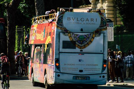 Rome Italy September 29, 2019 View of a tourist bus rolling through the streets of Rome in the morning